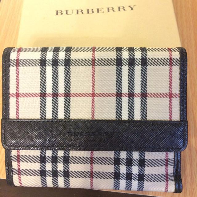 Burberry Label 黑標 格紋 多卡層 短夾 皮夾