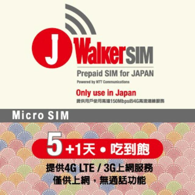 J Walker SIM 5+1天4G LTE日本上網卡_Micro
