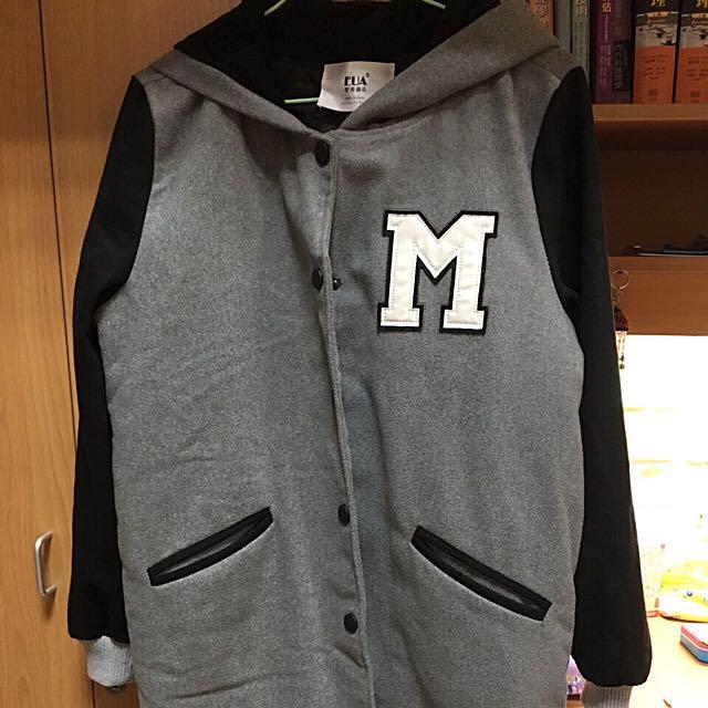 M字長版棒球外套