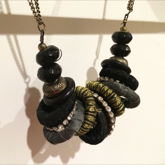 Necklace, Black And Gold Tribal