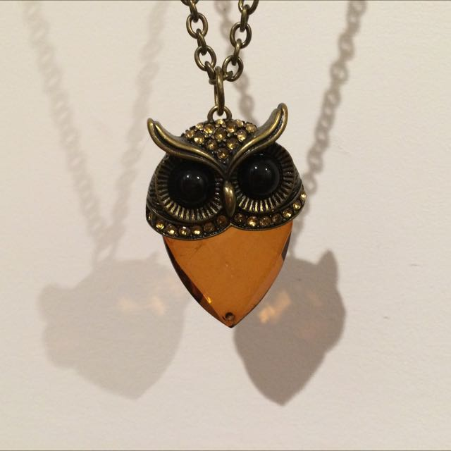 Necklace, Brass Owl And Stone