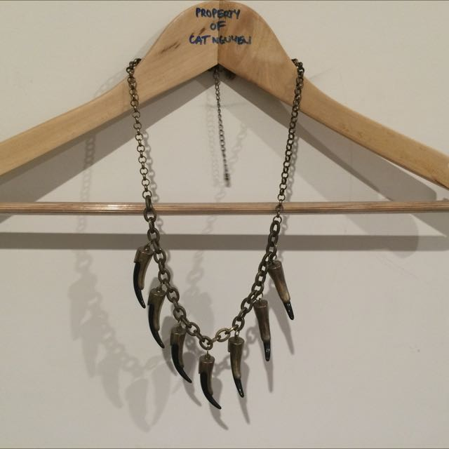 Necklace, Faux Brass And Black