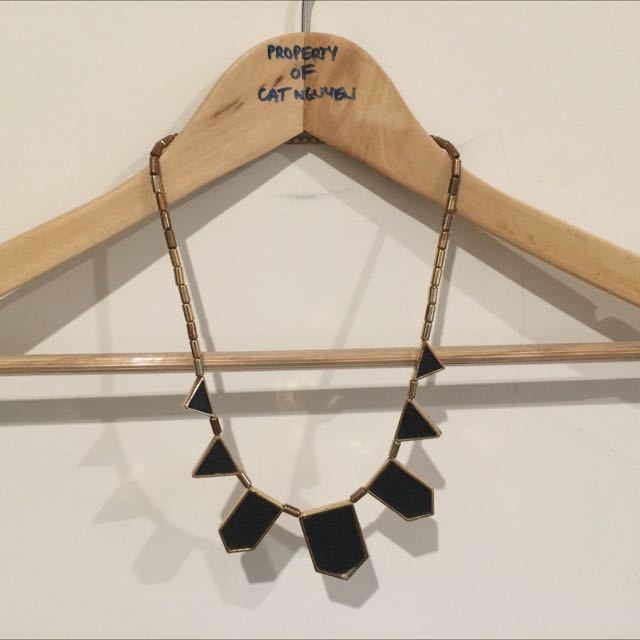 Necklace, Faux Leather And Gold