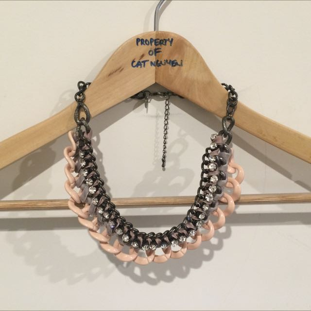 Necklace, Grey And Pink