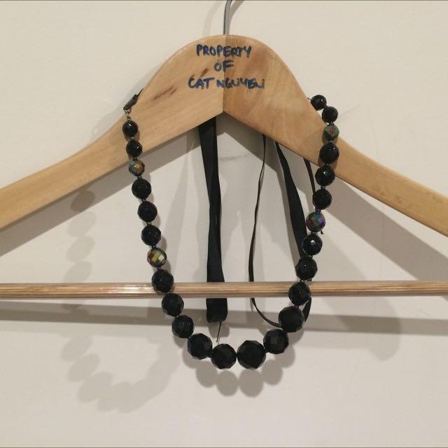 Necklace, Multi Shine Black Pearls