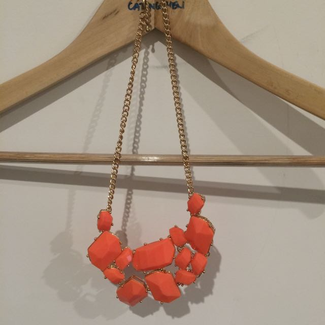 Necklace, Orange And Gold