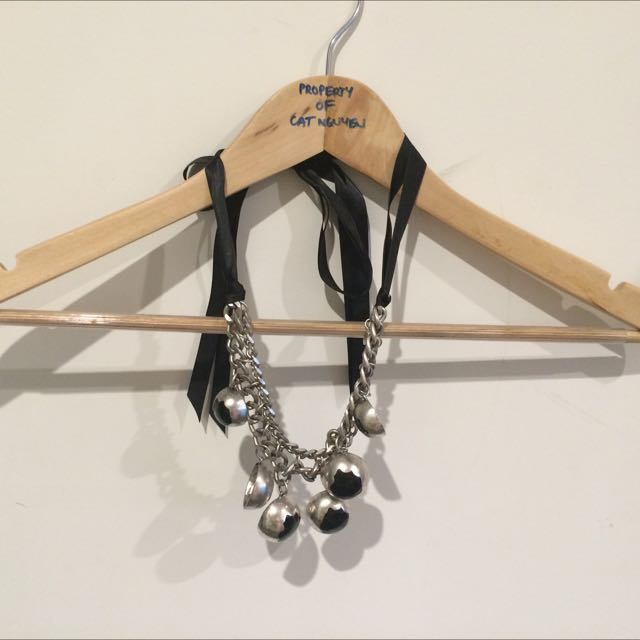 Necklace, Silver Metal With Ribbon Ties