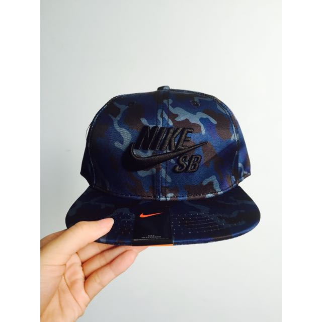b90ef8cc Nike SB Blue Camo Snapback Cap, Men's Fashion on Carousell