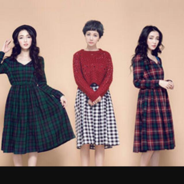 (保留中)深綠x紅線格紋V領長洋裝