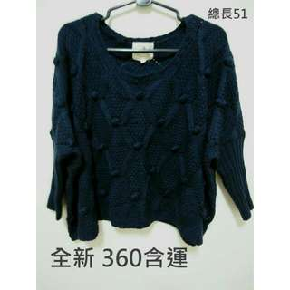 全新 深藍飛鼠袖短版毛衣