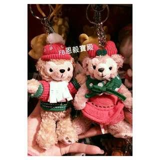 已售完♡香港迪士尼2015聖誕節 節慶Duffy達菲熊/Shelliemay雪麗梅 站姿娃娃 吊飾 鑰匙圈