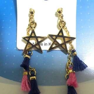 (全新)韓國製五芒星雙色小流蘇耳環