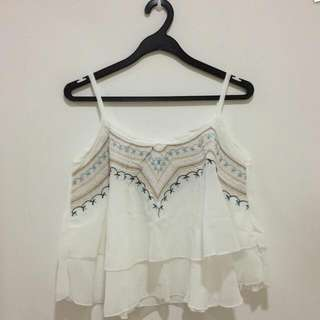 Embroidery Bohemian Flutter Top
