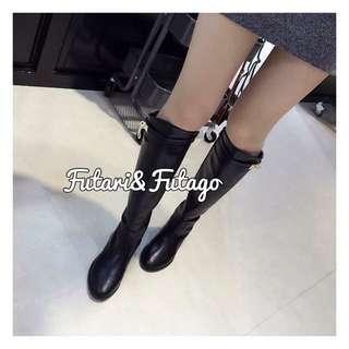 【免運】金釦金扣皮平底長靴🌠Grace Gift D+af Tiffany Dior Channel A&F Air space Forever21H&M Lv 正韓 雨靴