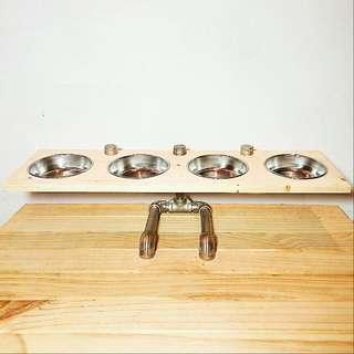🚚 手作松木寵物飼料碗架便當餐桌/四碗(桌面斜度可調整)