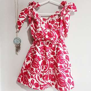 PENDING Red & White Floral Dress