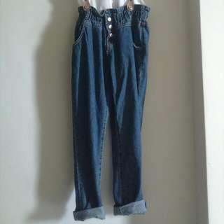 吊帶鬆緊牛仔褲⇲二手
