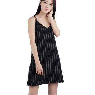 BN TTR Trey Lattice Dress In Pinstripes Black M