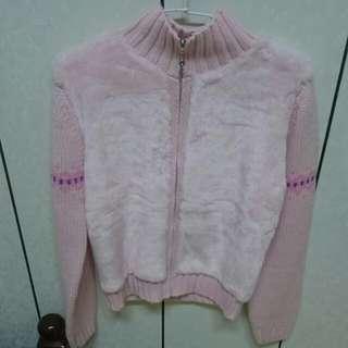 🎉針織 運動 外套 毛 粉色