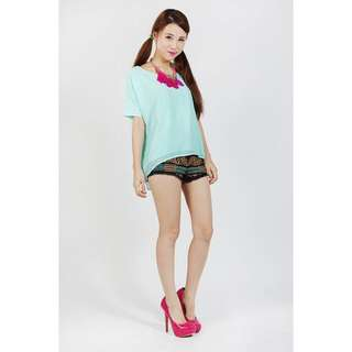 TTR Tangled Back Chiffon Top Mint