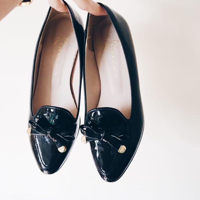韓。漆皮淑女皮鞋(黑/35)