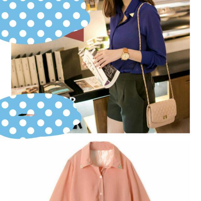 粉色雪紡襯衫美背鏤空蕾絲