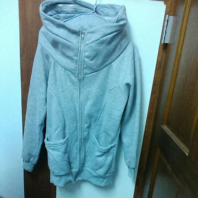保暖微刷毛外套-灰色