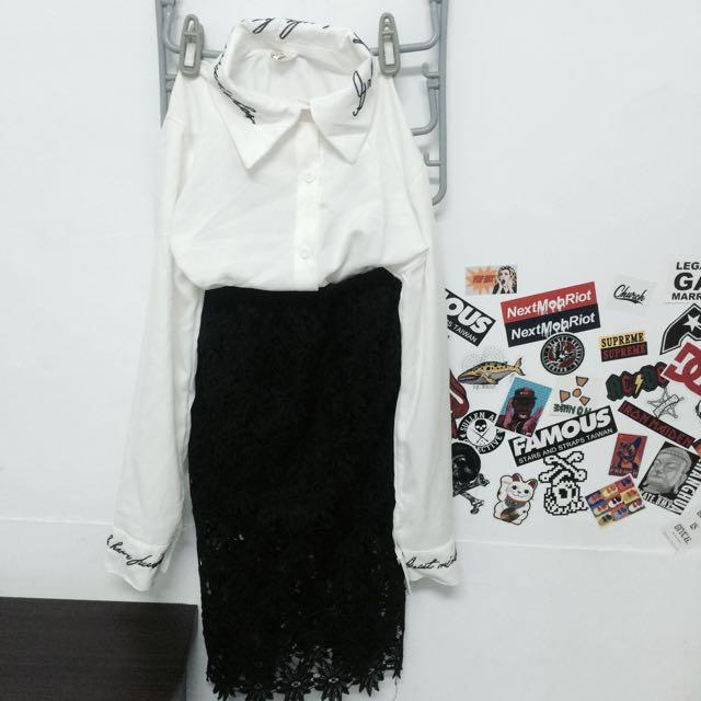 (可拆賣)絲質白襯衫+簍空雕花典雅中長裙