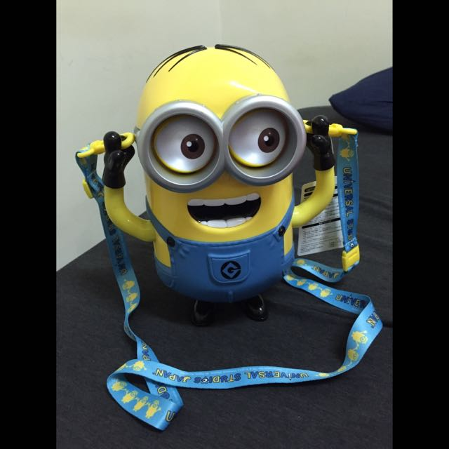(急售)日本 大阪 環球影城 帶回 全新 小小兵 爆米花桶 眼睛會動 超可愛 神偷奶爸 Banana Minions