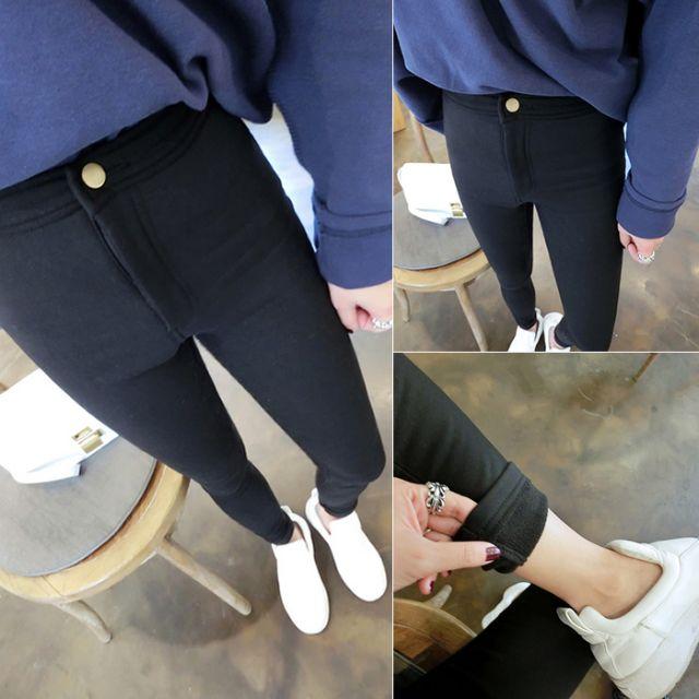 【預購1116】韓版修身AA彈力加絨打底褲/鉛筆褲