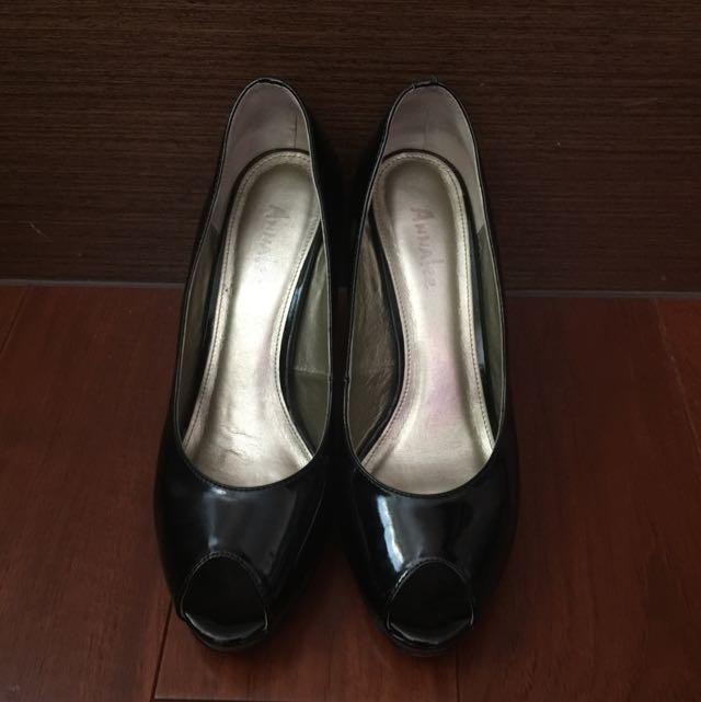 Annalee黑色魚口高跟鞋