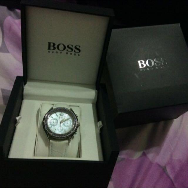Boss 女水鑽功能腕錶 9成新