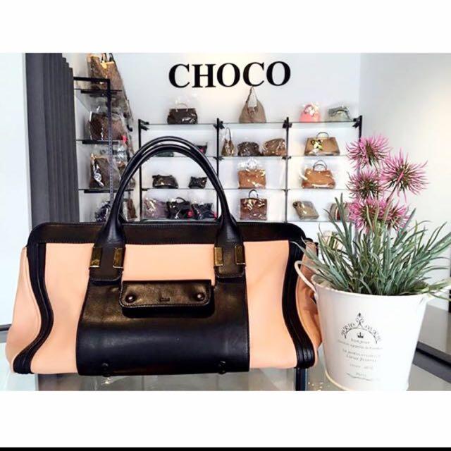 歐洲代購-Chloe 粉橘配色Alice系列手提包