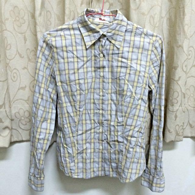 專櫃品牌H2O 鵝黃格子襯衫 M號