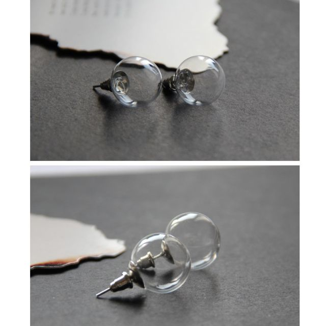 ◆Hasna◆簡約透明玻璃泡泡空心耳環 一對