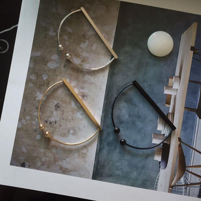 ◆Hasna◆歐美極簡線條珠珠開口式手環 (銀/黑/金)三色