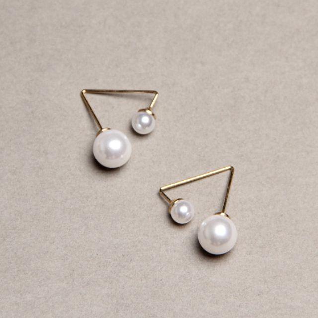 ◆Hasna◆氣質典雅珍珠金色幾何造型耳環 一對