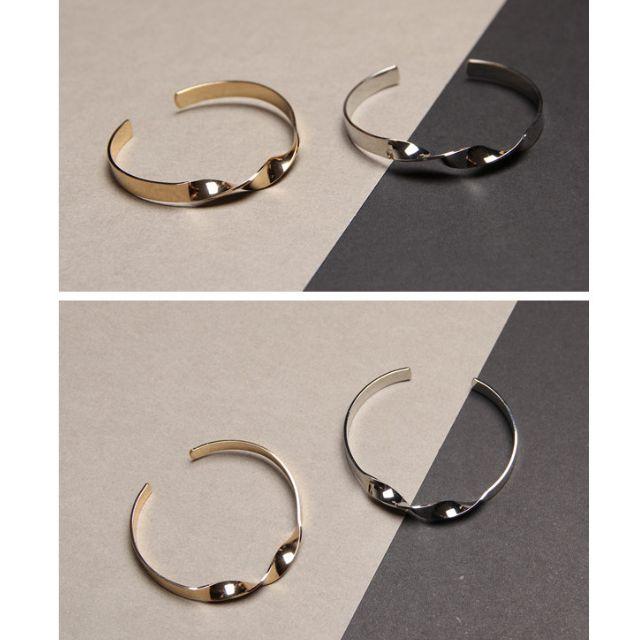 ◆Hasna◆歐美極簡麻花造型金属開口式手環 (金/銀) 二色