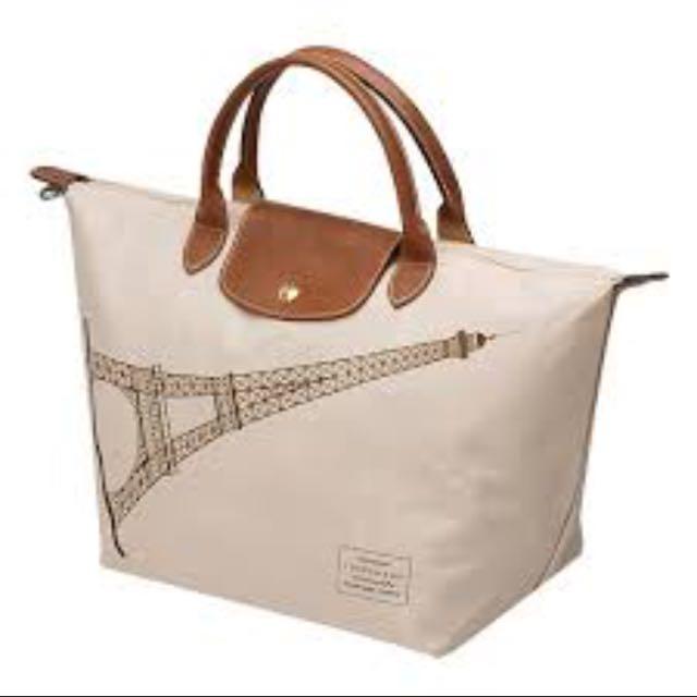 longchamp白色巴黎鐵塔紀念款拉鍊摺疊短把購物包