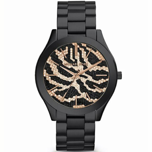 Michael Kors MK3316 狂野豹紋晶鑽腕錶 玫瑰金/黑 42mm