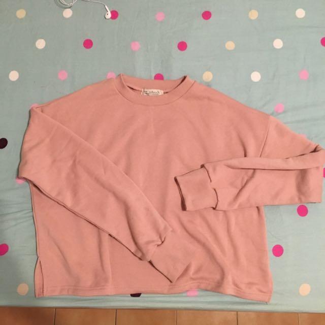 粉紅色 寬版長袖上衣