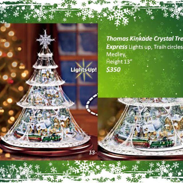 Thomas Kinkade Crystal Christmas Tree Complete With Lights And