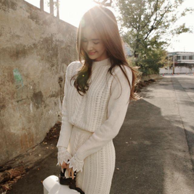 韓國partysu優雅女人味鏤空麻花針織衫【NO520077】