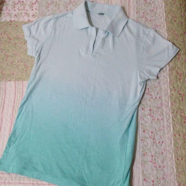 uniqlo 漸層 藍綠色 polo衫 s