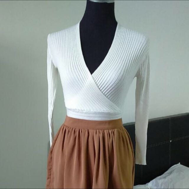 White Wrap Knitted Top