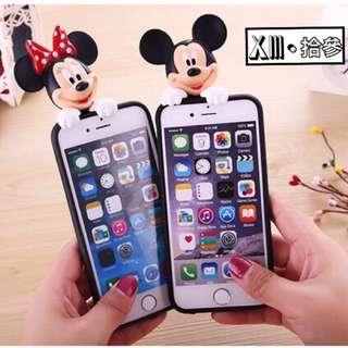 立體米奇米妮史迪奇手機軟殼(適用5、6、6+)