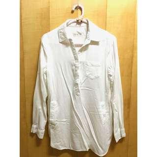 純白棉質長袖襯衫