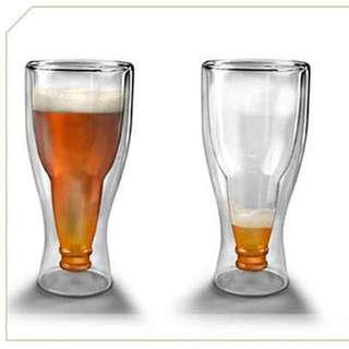 丹麥版 耐熱雙層玻璃馬克杯/啤酒杯 330ml