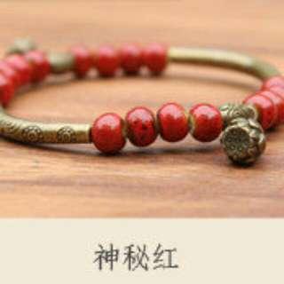小清新搭配藏銀配飾陶珠手鏈 銅管 神秘紅☆現貨☆