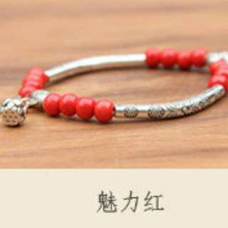 小清新搭配藏銀配飾陶珠手鏈 銀管 魅力紅☆現貨☆